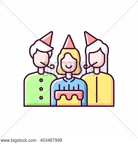 Birthday Party Rgb Color Icon. Surprise Celebration For Children. Special Occasion For Anniversary C