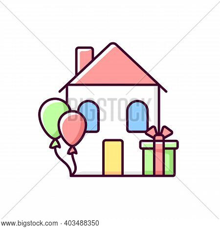 Housewarming Party Rgb Color Icon. Celebrate Moving In New Home. Presents And Gifts For House Warmin