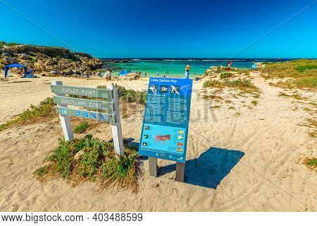Rottnest Island, Western Australia - Jan 4, 2018: Signboard Of Little Salmon Bay, A Paradise For Sno