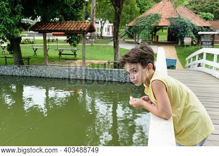 7 Year Old Child Supported On The Railing Of A Small Bridge Over The Lake.
