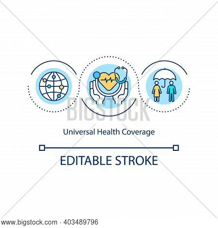Universal Health Coverage Concept Icon. Access To Needed Health-related Services Idea Thin Line Illu