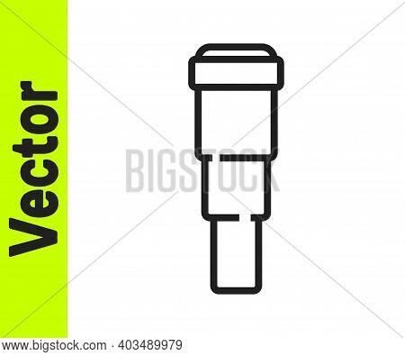 Black Line Spyglass Telescope Lens Icon Isolated On White Background. Sailor Spyglass. Vector