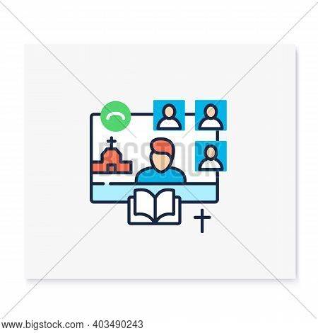 Online Religious Service Color Icon. Meeting Together Concept. Internet Streaming Website. Live, Soc