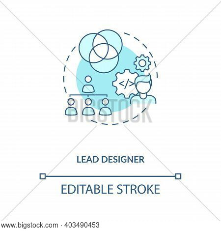 Lead Designer Concept Icon. Game Designers Types. Creating Powerful Project With Powerful Team. Empl