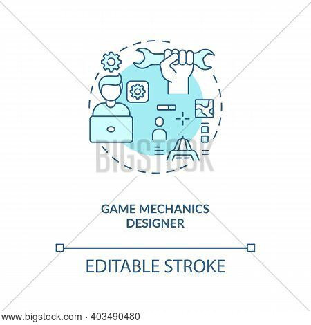 Game Mechanics Designer Concept Icon. Game Designers Types. Responsible For Users Experience. Employ