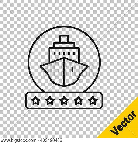 Black Line Cruise Ship Icon Isolated On Transparent Background. Travel Tourism Nautical Transport. V