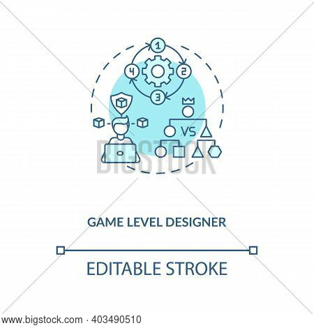Game Level Designer Concept Icon. Game Designers Types. Makes Good Gameplay For Players. Proffesiona