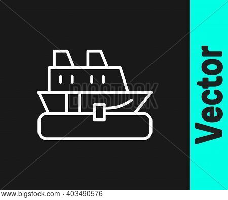 White Line Cruise Ship Icon Isolated On Black Background. Travel Tourism Nautical Transport. Voyage