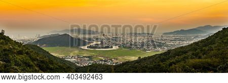 Sunset view of Nha Trang city from the mountain, Vietnam