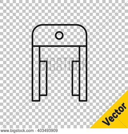 Black Line Metal Detector In Airport Icon Isolated On Transparent Background. Airport Security Guard