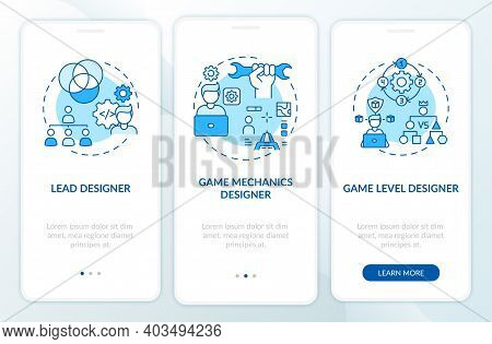 Game Designers Types Onboarding Mobile App Page Screen With Concepts. Game Mechanics Designer On Pro