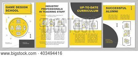 Game Design School Brochure Template. Industry Professionals, Alumni. Flyer, Booklet, Leaflet Print,