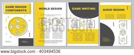 Game Designing Brochure Template. World Creation, Audio Design. Flyer, Booklet, Leaflet Print, Cover