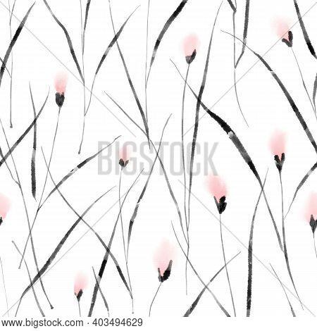 Watercolor Floral Seamless Pattern, Modern Spring Background. Black And Pink Flowers Ink Painting En