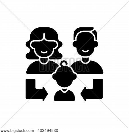 Heredity Black Glyph Icon. Human Life Reproduction. Family Generation. Couple Of Parent With Daughte