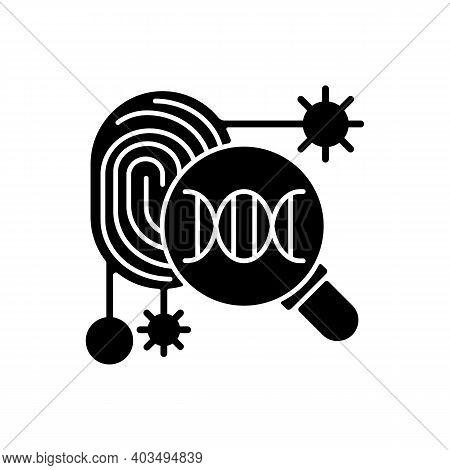 Dna Fingerprinting Black Glyph Icon. Forensic Imprint Scan. Genetic Engineering Experiment. Scientif