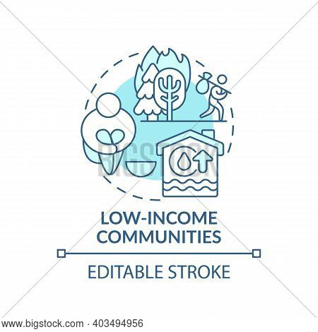 Low-income Communities Concept Icon. Climate Justice Idea Thin Line Illustration. Poor Mental Health