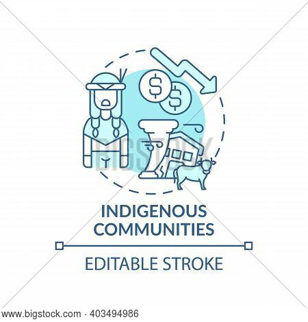 Indigenous Community Concept Icon. Global Warming Idea Thin Line Illustration. Culturally Distinct S
