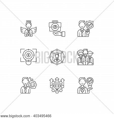 Service With Integrity Linear Icons Set. Business Transparency. Financial Focus, Company Goal. Custo