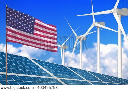 Usa Solar And Wind Energy, Renewable Energy Concept With Windmills - Renewable Energy Against Global