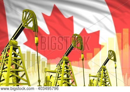 Canada Oil And Petrol Industry Concept, Industrial Illustration On Canada Flag Background. 3d Illust