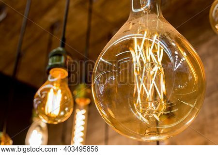 Beautiful Retro Luxury Light Lamp Decor Glowing.house Interior Of Loft And Rustic Style. Vintage Lig