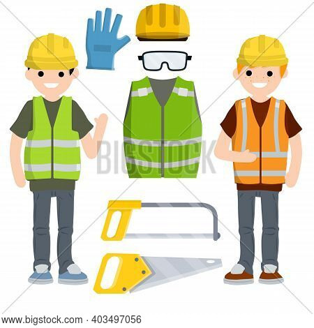 Repair And Installation Tools. Jigsaw, Gloves, Glasses, Vest And Helmet. Industrial Safety. Maintena