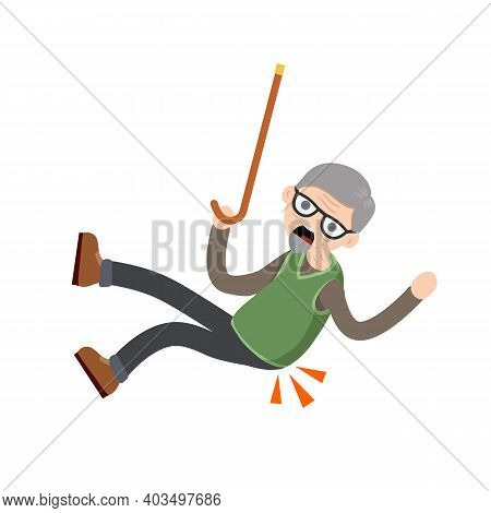 Old Man Falls To Ground. Sore Spot And Back Pain. Grandfather Failure And Injury. Cartoon Flat Illus