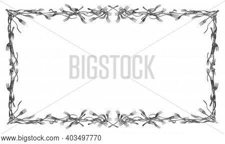 Forks Merged Metal, Large Rectangular Frame Construction, 3d Illustration, Horizontal, Isolated, Ove