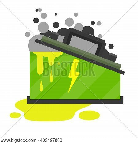 Broken Car Battery. Rechargeable Electricity Accumulator. Damaged Object. Gray Smoke And Green Acid.