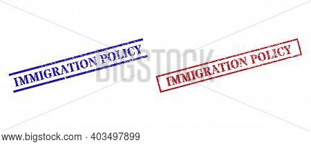 Grunge Immigration Policy Stamp Seals In Red And Blue Colors. Seals Have Rubber Style. Vector Rubber