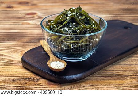 Seaweed Salad. Asian Cuisine. Seaweed (kelp) Sprinkled With Sesame Seeds, Soft Focus. Laminari