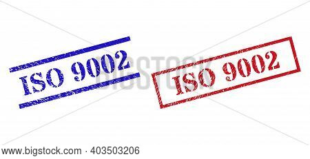 Grunge Iso 9002 Rubber Stamps In Red And Blue Colors. Seals Have Rubber Style. Vector Rubber Imitati