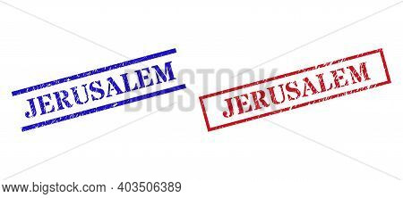 Grunge Jerusalem Rubber Stamps In Red And Blue Colors. Stamps Have Distress Surface. Vector Rubber I