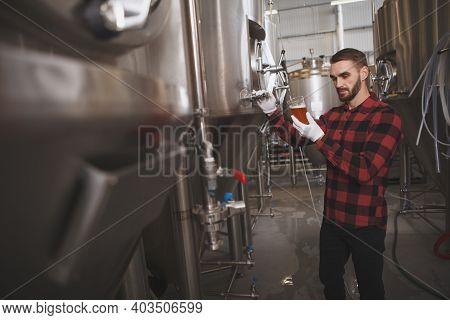 Male Brewer Tasting Freshly Brewed Beer At His Brewery, Metal Tanks On Background, Copy Space