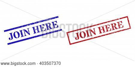 Grunge Join Here Rubber Stamps In Red And Blue Colors. Stamps Have Draft Surface. Vector Rubber Imit