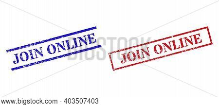 Grunge Join Online Rubber Stamps In Red And Blue Colors. Seals Have Rubber Surface. Vector Rubber Im