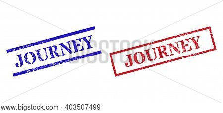 Grunge Journey Rubber Stamps In Red And Blue Colors. Stamps Have Distress Surface. Vector Rubber Imi