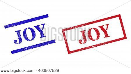 Grunge Joy Seal Stamps In Red And Blue Colors. Stamps Have Rubber Style. Vector Rubber Imitations Wi