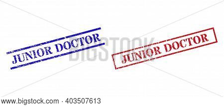 Grunge Junior Doctor Rubber Stamps In Red And Blue Colors. Stamps Have Distress Texture. Vector Rubb