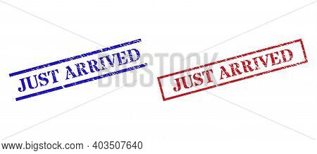 Grunge Just Arrived Rubber Stamps In Red And Blue Colors. Stamps Have Draft Style. Vector Rubber Imi