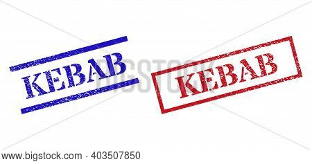 Grunge Kebab Seal Stamps In Red And Blue Colors. Stamps Have Rubber Style. Vector Rubber Imitations