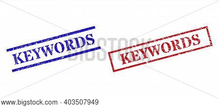 Grunge Keywords Seal Stamps In Red And Blue Colors. Stamps Have Rubber Style. Vector Rubber Imitatio