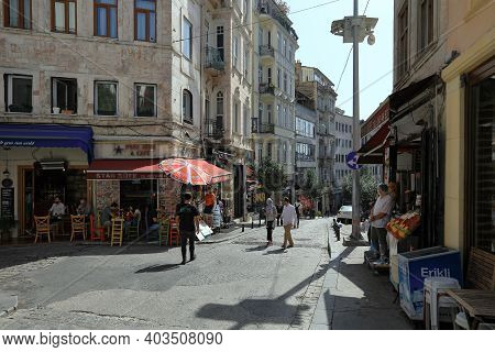 Istanbul, Turkey - October 07, 2020. Outdoor Cafe On The Corner. Galip Dede Street During Pandemic T