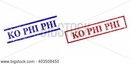Grunge Ko Phi Stamp Seals In Red And Blue Colors. Seals Have Rubber Style. Vector Rubber Imitations