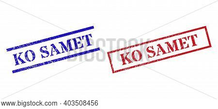 Grunge Ko Samet Rubber Stamps In Red And Blue Colors. Stamps Have Distress Style. Vector Rubber Imit