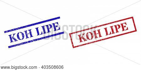 Grunge Koh Lipe Rubber Stamps In Red And Blue Colors. Seals Have Rubber Surface. Vector Rubber Imita
