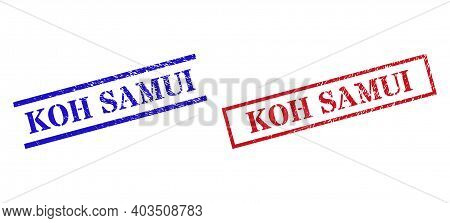 Grunge Koh Samui Rubber Stamps In Red And Blue Colors. Stamps Have Rubber Style. Vector Rubber Imita