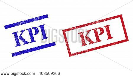 Grunge Kpi Rubber Stamps In Red And Blue Colors. Stamps Have Rubber Style. Vector Rubber Imitations