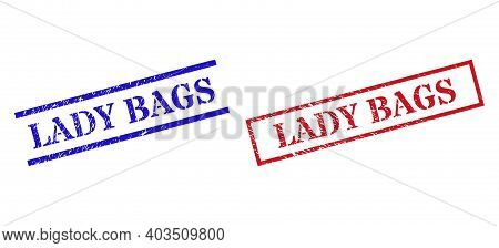 Grunge Lady Bags Seal Stamps In Red And Blue Colors. Seals Have Rubber Style. Vector Rubber Imitatio
